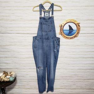 Old Navy denim jean distressed overalls large